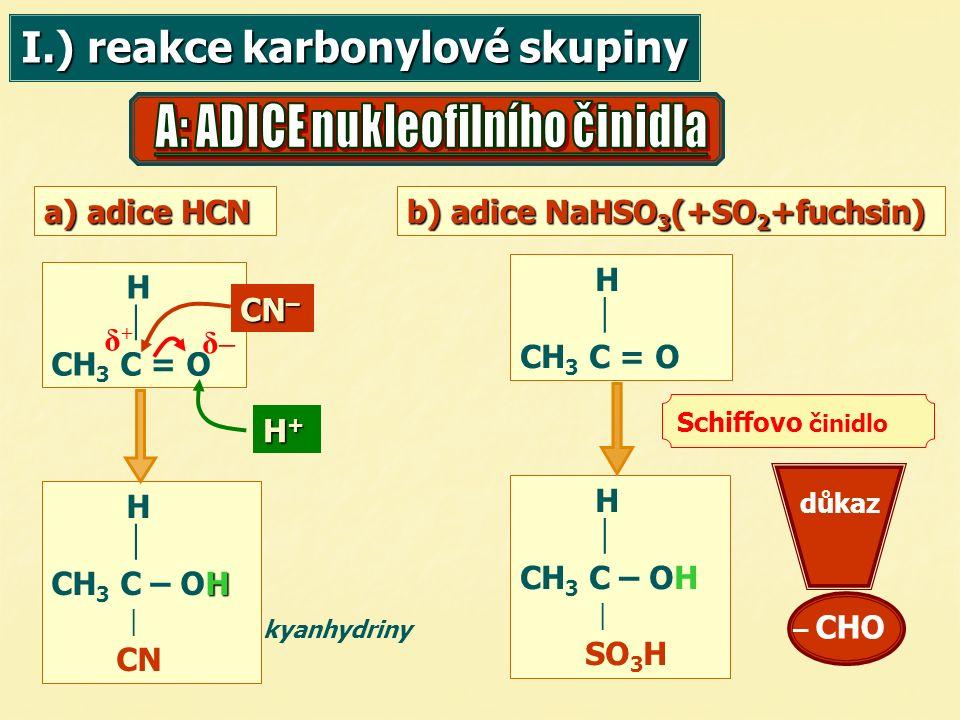 I.) reakce karbonylové skupiny a) adice HCN b) adice NaHSO 3 (+SO 2 +fuchsin) H  CH 3 C = O H  CH 3 C = O CN – H+H+H+H+ H  H CH 3 C – OH  CN δ–δ–