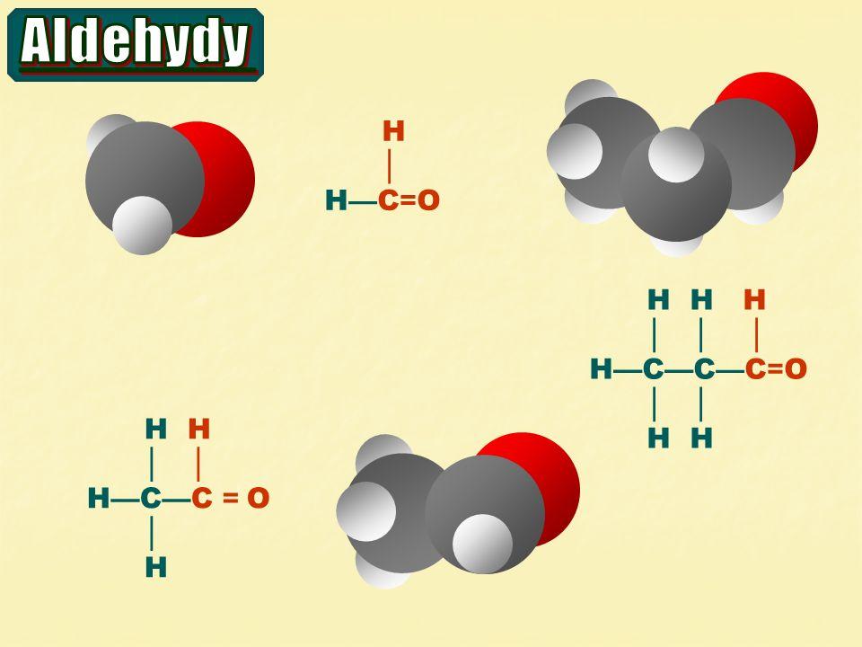 I.) reakce karbonylové skupiny a) adice HCN b) adice NaHSO 3 (+SO 2 +fuchsin) H  CH 3 C = O H  CH 3 C = O CN – H+H+H+H+ H  H CH 3 C – OH  CN δ–δ– δ+δ+ kyanhydriny H  CH 3 C – OH  SO 3 H Schiffovo činidlo důkaz – CHO