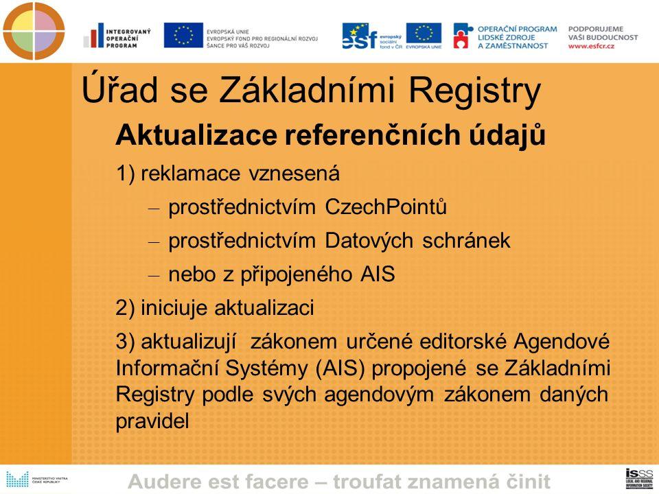 Úřad se Základními Registry Aktualizace referenčních údajů 1) reklamace vznesená – prostřednictvím CzechPointů – prostřednictvím Datových schránek – nebo z připojeného AIS 2) iniciuje aktualizaci 3) aktualizují zákonem určené editorské Agendové Informační Systémy (AIS) propojené se Základními Registry podle svých agendovým zákonem daných pravidel