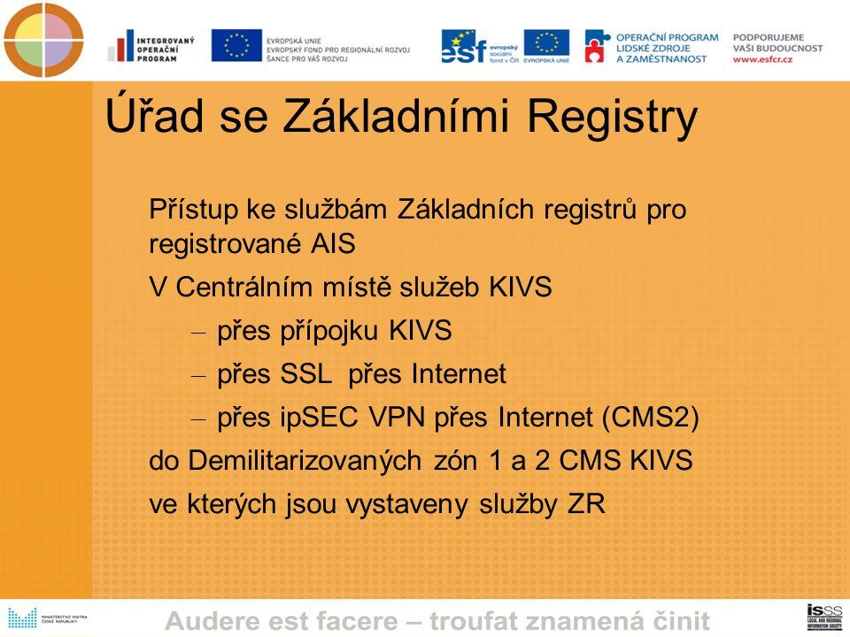 Úřad se Základními Registry Přístup ke službám Základních registrů pro registrované AIS V Centrálním místě služeb KIVS – přes přípojku KIVS – přes SSL přes Internet – přes ipSEC VPN přes Internet (CMS2) do Demilitarizovaných zón 1 a 2 CMS KIVS ve kterých jsou vystaveny služby ZR