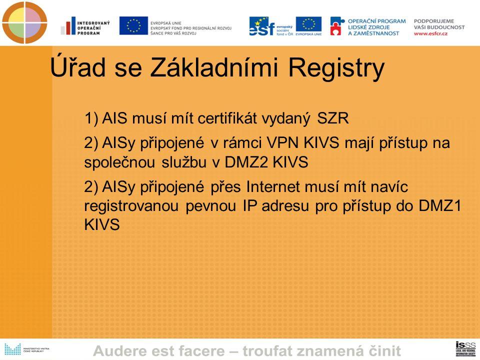 Úřad se Základními Registry 1) AIS musí mít certifikát vydaný SZR 2) AISy připojené v rámci VPN KIVS mají přístup na společnou službu v DMZ2 KIVS 2) AISy připojené přes Internet musí mít navíc registrovanou pevnou IP adresu pro přístup do DMZ1 KIVS