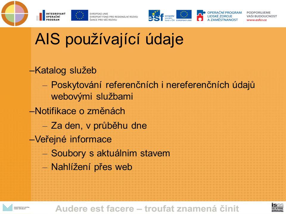 AIS používající údaje –Katalog služeb – Poskytování referenčních i nereferenčních údajů webovými službami –Notifikace o změnách – Za den, v průběhu dne –Veřejné informace – Soubory s aktuálnim stavem – Nahlížení přes web
