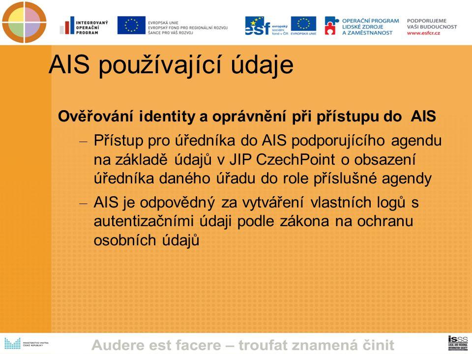 AIS používající údaje Ověřování identity a oprávnění při přístupu do AIS – Přístup pro úředníka do AIS podporujícího agendu na základě údajů v JIP CzechPoint o obsazení úředníka daného úřadu do role příslušné agendy – AIS je odpovědný za vytváření vlastních logů s autentizačními údaji podle zákona na ochranu osobních údajů