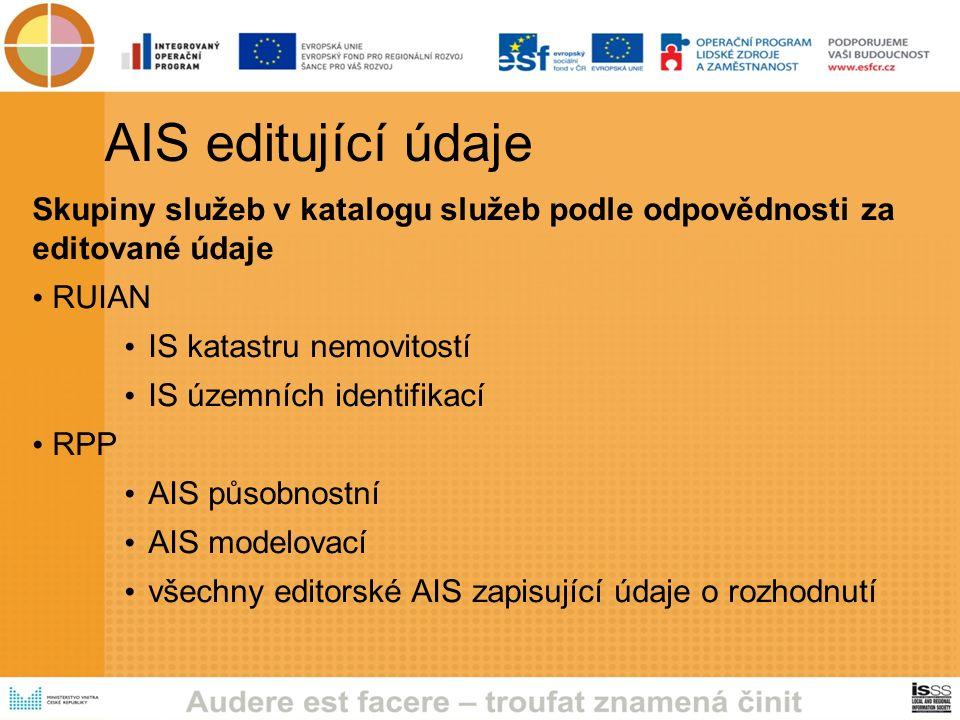 AIS editující údaje Skupiny služeb v katalogu služeb podle odpovědnosti za editované údaje RUIAN IS katastru nemovitostí IS územních identifikací RPP AIS působnostní AIS modelovací všechny editorské AIS zapisující údaje o rozhodnutí