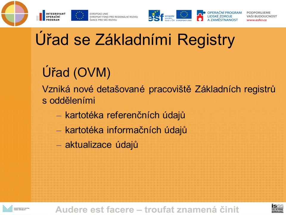 Úřad se Základními Registry Úřad (OVM) Vzniká nové detašované pracoviště Základních registrů s odděleními – kartotéka referenčních údajů – kartotéka informačních údajů – aktualizace údajů