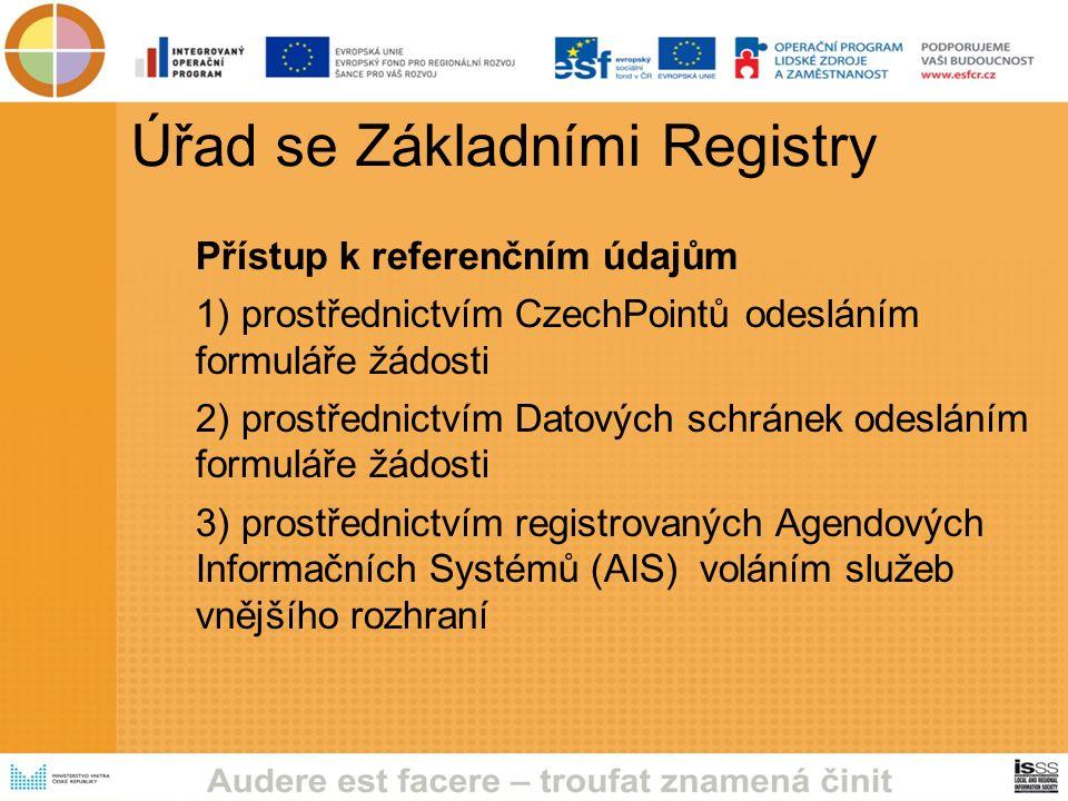 Úřad se Základními Registry Přístup k referenčním údajům 1) prostřednictvím CzechPointů odesláním formuláře žádosti 2) prostřednictvím Datových schránek odesláním formuláře žádosti 3) prostřednictvím registrovaných Agendových Informačních Systémů (AIS) voláním služeb vnějšího rozhraní