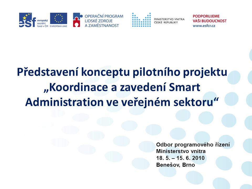 """Představení konceptu pilotního projektu """"Koordinace a zavedení Smart Administration ve veřejném sektoru Odbor programového řízení Ministerstvo vnitra 18."""