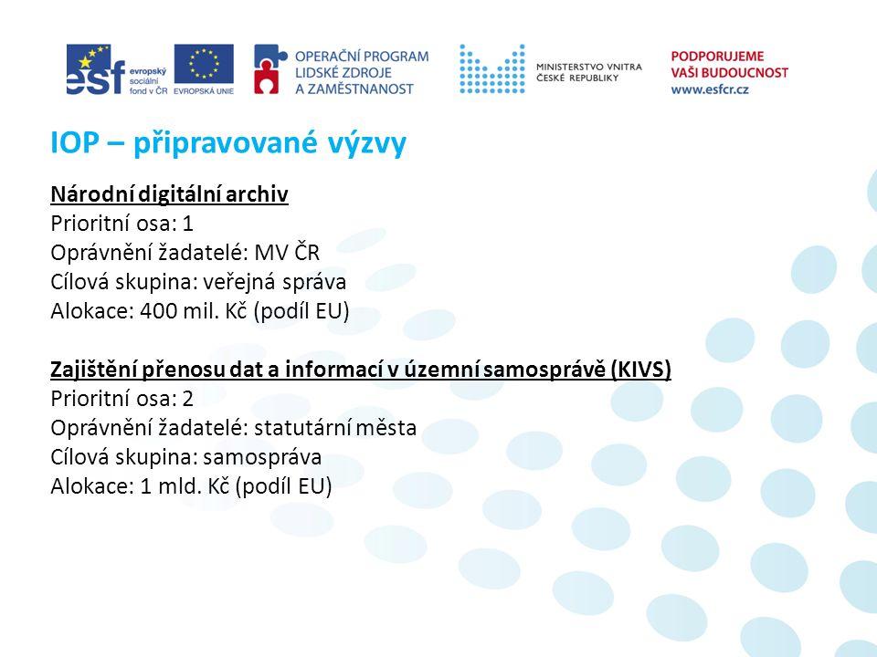 Národní digitální archiv Prioritní osa: 1 Oprávnění žadatelé: MV ČR Cílová skupina: veřejná správa Alokace: 400 mil.