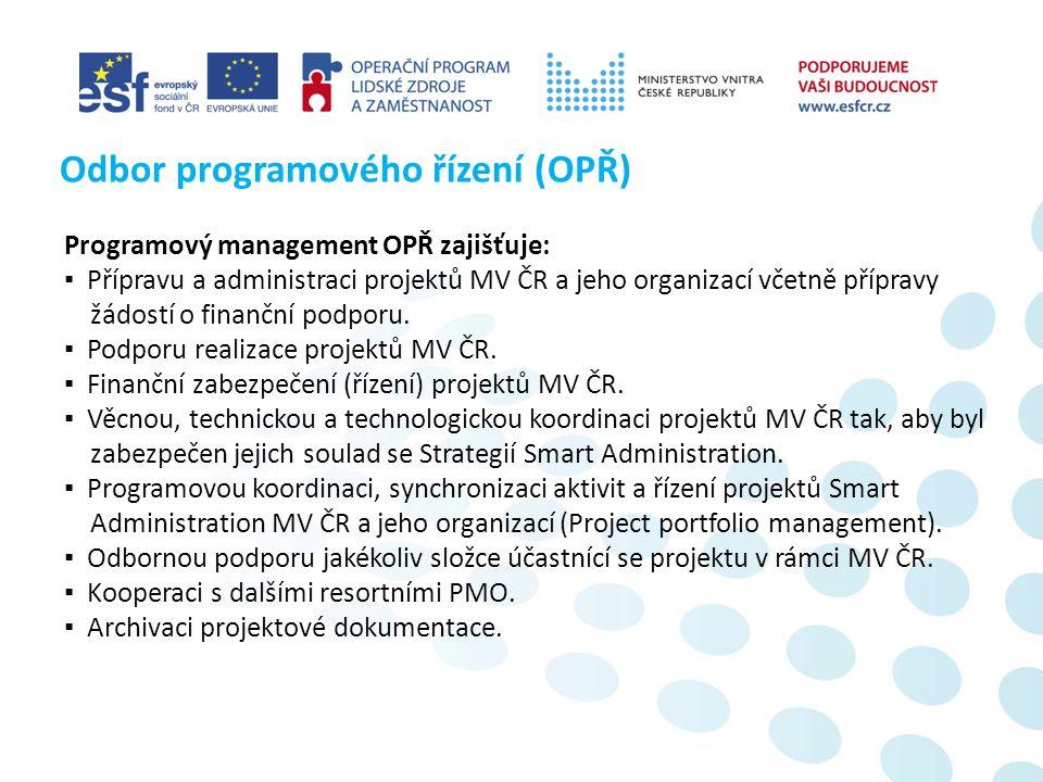 Programový management OPŘ zajišťuje: ▪ Přípravu a administraci projektů MV ČR a jeho organizací včetně přípravy žádostí o finanční podporu.
