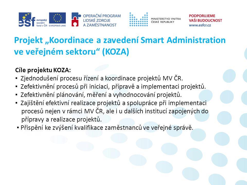 Zdůvodnění potřebnosti projektu KOZA: ▪ Nízká efektivita vynakládání finančních prostředků.