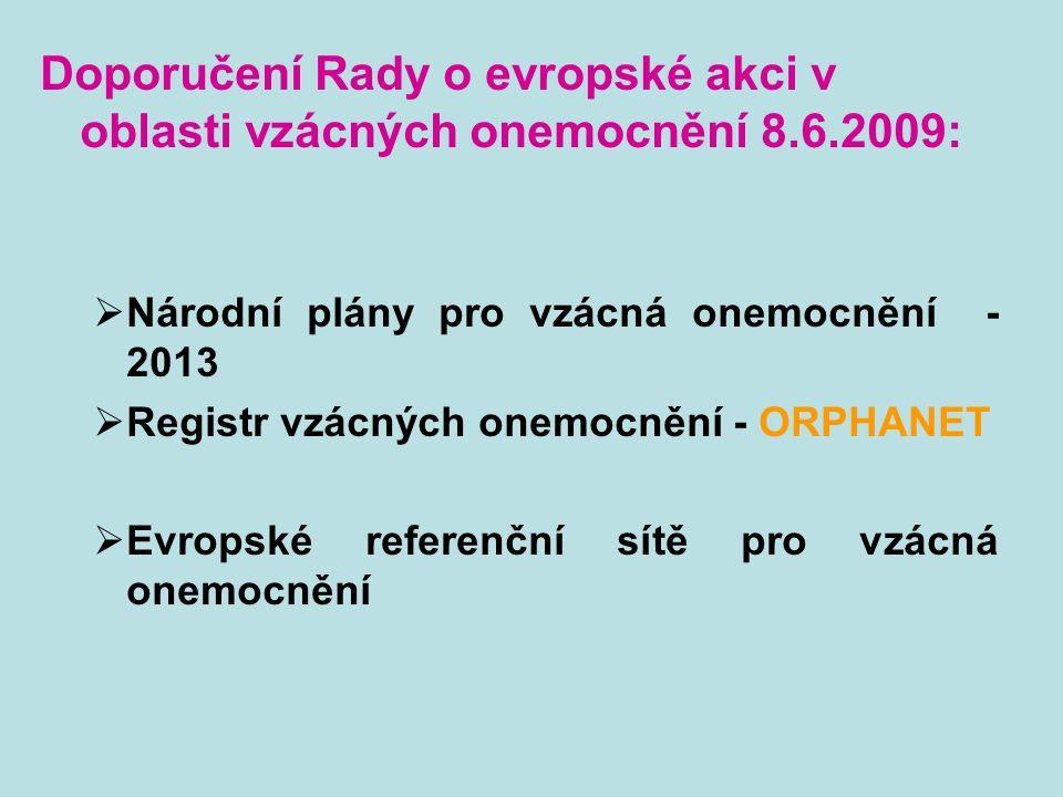 Doporučení Rady o evropské akci v oblasti vzácných onemocnění 8.6.2009:  Národní plány pro vzácná onemocnění - 2013  Registr vzácných onemocnění - ORPHANET  Evropské referenční sítě pro vzácná onemocnění