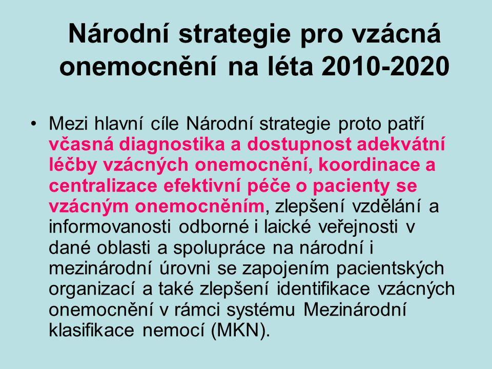 Národní strategie pro vzácná onemocnění na léta 2010-2020 Mezi hlavní cíle Národní strategie proto patří včasná diagnostika a dostupnost adekvátní léčby vzácných onemocnění, koordinace a centralizace efektivní péče o pacienty se vzácným onemocněním, zlepšení vzdělání a informovanosti odborné i laické veřejnosti v dané oblasti a spolupráce na národní i mezinárodní úrovni se zapojením pacientských organizací a také zlepšení identifikace vzácných onemocnění v rámci systému Mezinárodní klasifikace nemocí (MKN).