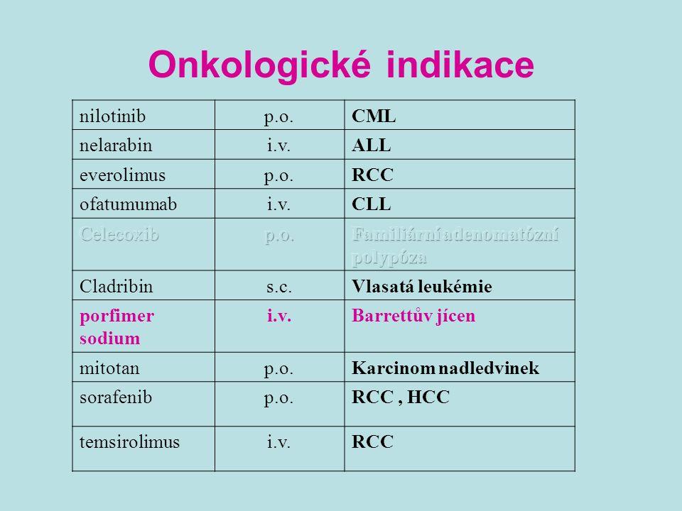 Onkologické indikace nilotinibp.o.CML nelarabini.v.ALL everolimusp.o.RCC ofatumumabi.v.CLL Cladribins.c.Vlasatá leukémie porfimer sodium i.v.Barrettův jícen mitotanp.o.Karcinom nadledvinek sorafenibp.o.RCC, HCC temsirolimusi.v.RCC