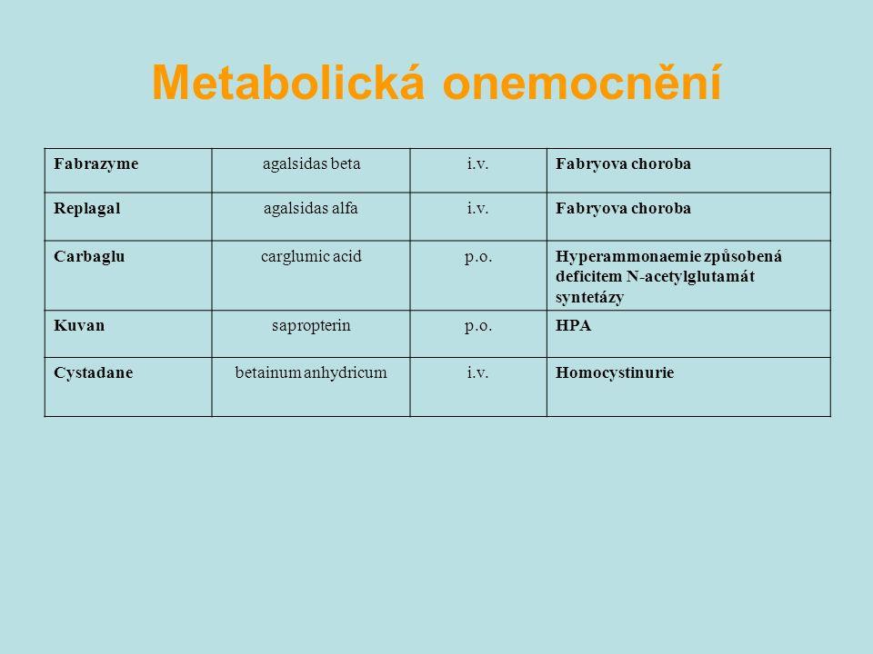Fabrazymeagalsidas betai.v.Fabryova choroba Replagalagalsidas alfai.v.Fabryova choroba Carbaglucarglumic acidp.o.Hyperammonaemie způsobená deficitem N-acetylglutamát syntetázy Kuvansapropterinp.o.HPA Cystadanebetainum anhydricumi.v.Homocystinurie