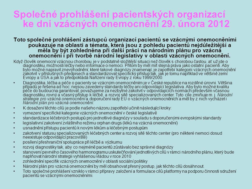 Společné prohlášení pacientských organizací ke dni vzácných onemocnění 29.