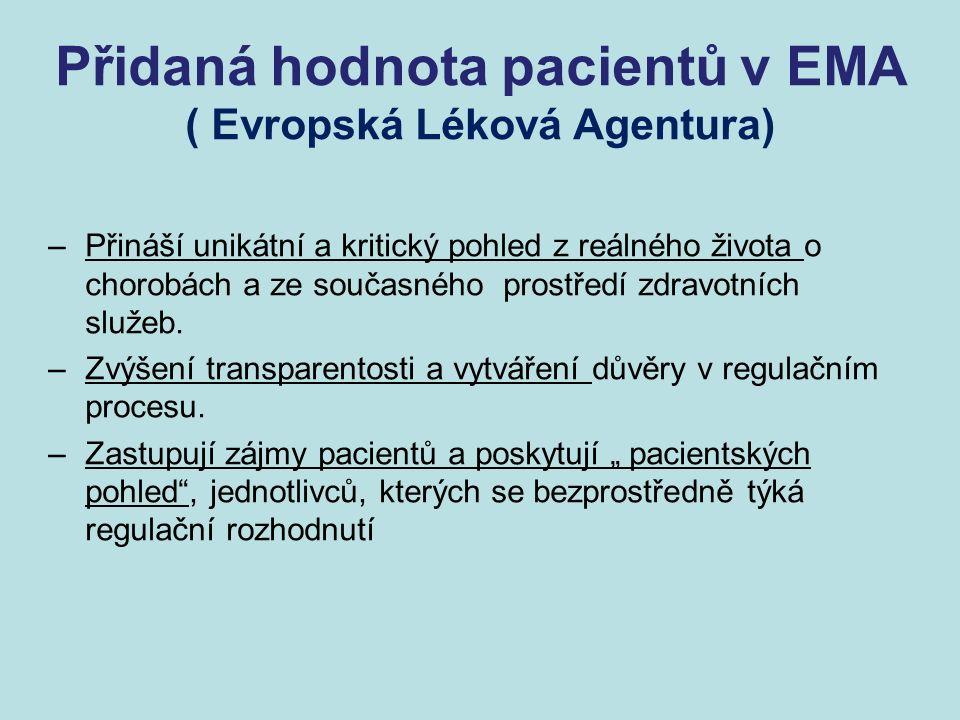 Přidaná hodnota pacientů v EMA ( Evropská Léková Agentura) –Přináší unikátní a kritický pohled z reálného života o chorobách a ze současného prostředí zdravotních služeb.