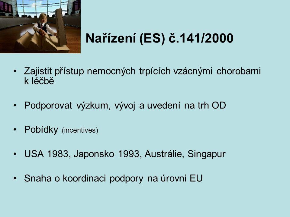 Nařízení (ES) č.141/2000 Zajistit přístup nemocných trpících vzácnými chorobami k léčbě Podporovat výzkum, vývoj a uvedení na trh OD Pobídky (incentives) USA 1983, Japonsko 1993, Austrálie, Singapur Snaha o koordinaci podpory na úrovni EU