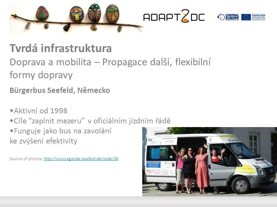 Tvrdá infrastruktura Doprava a mobilita – Propagace další, flexibilní formy dopravy Bürgerbus Seefeld, Německo Aktivní od 1998 Cíle zaplnit mezeru v oficiálním jízdním řádě Funguje jako bus na zavolání ke zvýšení efektivity Source of picture: http://www.agenda-seefeld.de/node/36http://www.agenda-seefeld.de/node/36
