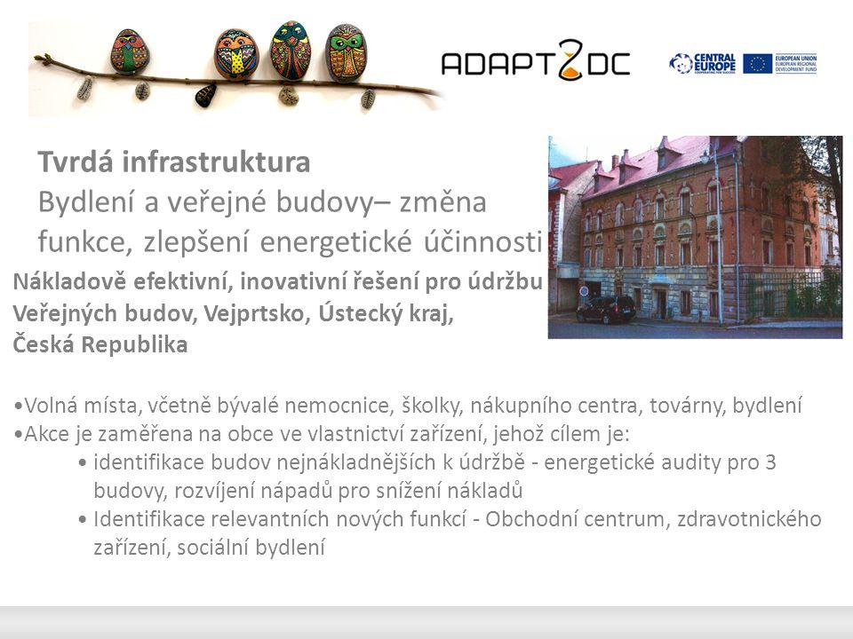 Nákladově efektivní, inovativní řešení pro údržbu Veřejných budov, Vejprtsko, Ústecký kraj, Česká Republika Volná místa, včetně bývalé nemocnice, školky, nákupního centra, továrny, bydlení Akce je zaměřena na obce ve vlastnictví zařízení, jehož cílem je: identifikace budov nejnákladnějších k údržbě - energetické audity pro 3 budovy, rozvíjení nápadů pro snížení nákladů Identifikace relevantních nových funkcí - Obchodní centrum, zdravotnického zařízení, sociální bydlení Tvrdá infrastruktura Bydlení a veřejné budovy– změna funkce, zlepšení energetické účinnosti