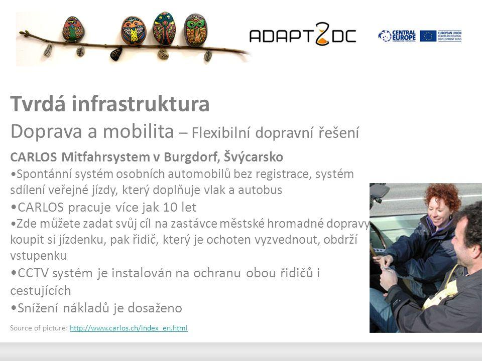 Tvrdá infrastruktura Doprava a mobilita – Flexibilní dopravní řešení CARLOS Mitfahrsystem v Burgdorf, Švýcarsko Spontánní systém osobních automobilů bez registrace, systém sdílení veřejné jízdy, který doplňuje vlak a autobus CARLOS pracuje více jak 10 let Zde můžete zadat svůj cíl na zastávce městské hromadné dopravy a koupit si jízdenku, pak řidič, který je ochoten vyzvednout, obdrží vstupenku CCTV systém je instalován na ochranu obou řidičů i cestujících Snížení nákladů je dosaženo Source of picture: http://www.carlos.ch/index_en.htmlhttp://www.carlos.ch/index_en.html