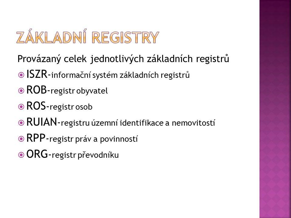 Provázaný celek jednotlivých základních registrů  ISZR - informační systém základních registrů  ROB - registr obyvatel  ROS - registr osob  RUIAN - registru územní identifikace a nemovitostí  RPP - registr práv a povinností  ORG - registr převodníku
