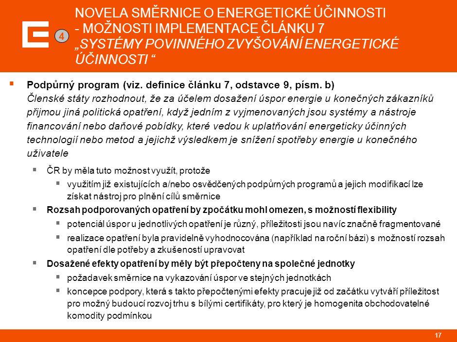 """NOVELA SMĚRNICE O ENERGETICKÉ ÚČINNOSTI - MOŽNOSTI IMPLEMENTACE ČLÁNKU 7 """"SYSTÉMY POVINNÉHO ZVYŠOVÁNÍ ENERGETICKÉ ÚČINNOSTI  Podpůrný program (viz."""