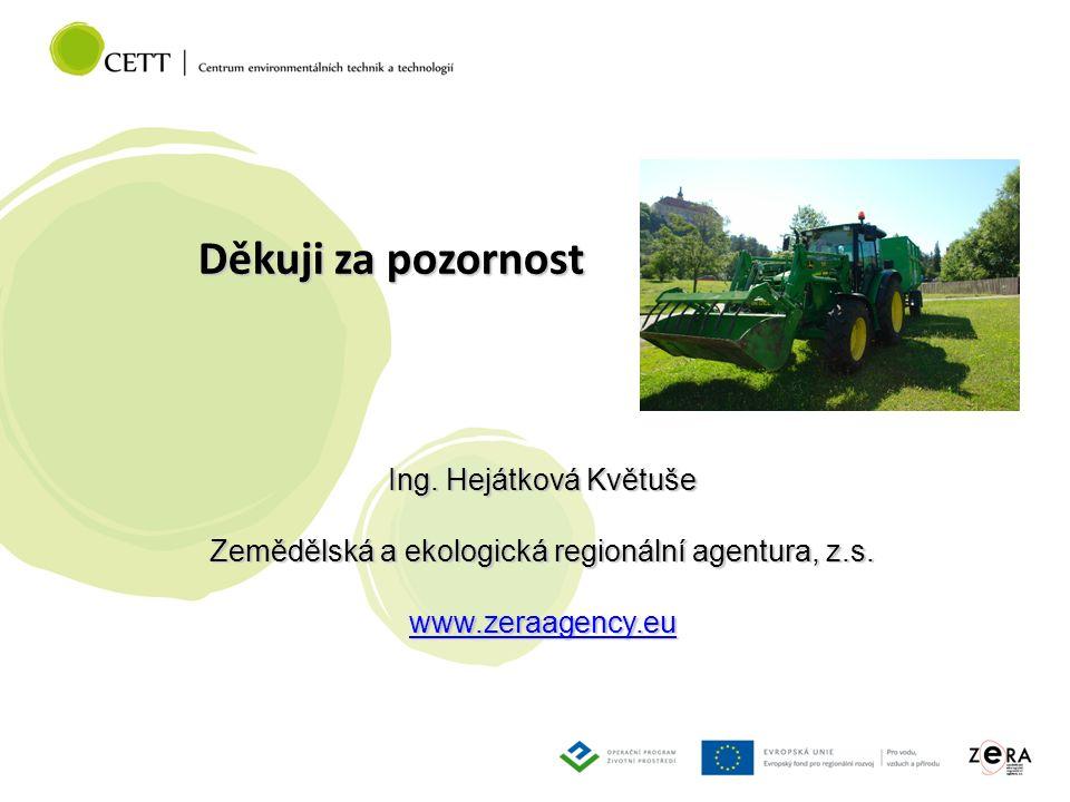 Děkuji za pozornost Ing. Hejátková Květuše Zemědělská a ekologická regionální agentura, z.s.