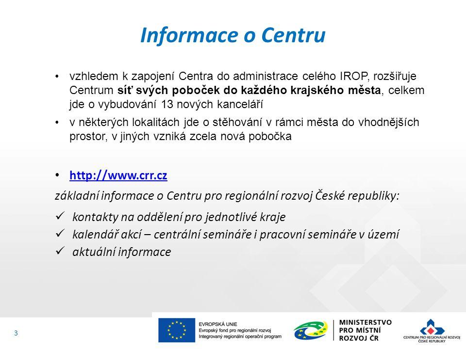 Informace o Centru vzhledem k zapojení Centra do administrace celého IROP, rozšiřuje Centrum síť svých poboček do každého krajského města, celkem jde