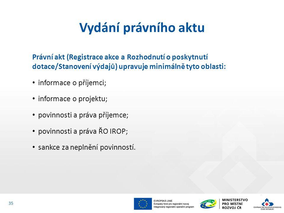 Právní akt (Registrace akce a Rozhodnutí o poskytnutí dotace/Stanovení výdajů) upravuje minimálně tyto oblasti: informace o příjemci; informace o proj
