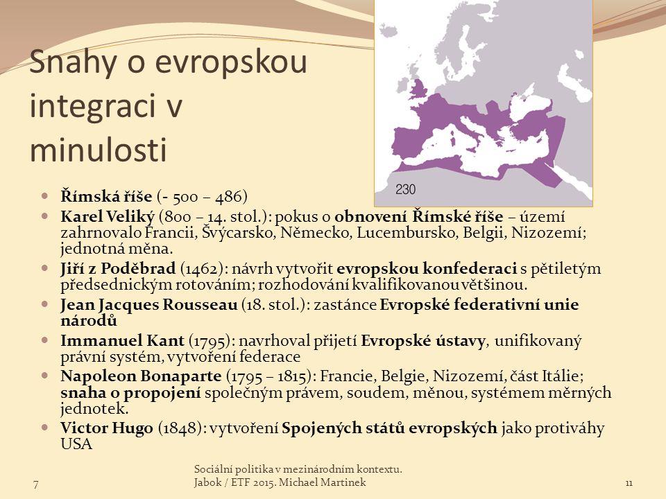 Snahy o evropskou integraci v minulosti Římská říše (- 500 – 486) Karel Veliký (800 – 14. stol.): pokus o obnovení Římské říše – území zahrnovalo Fran
