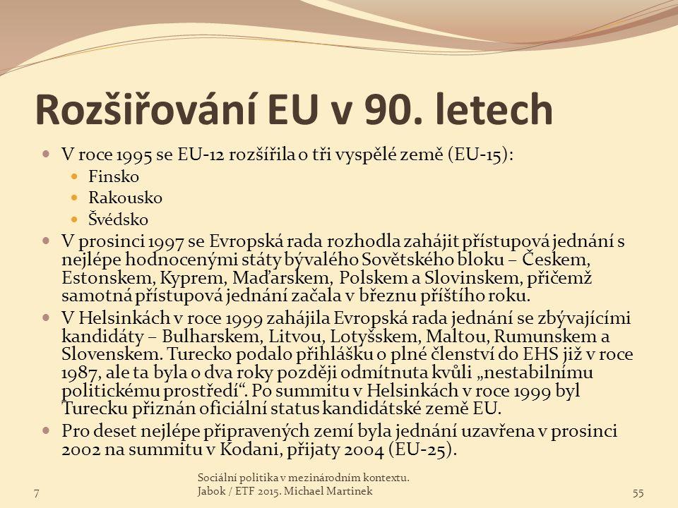 Rozšiřování EU v 90. letech V roce 1995 se EU-12 rozšířila o tři vyspělé země (EU-15): Finsko Rakousko Švédsko V prosinci 1997 se Evropská rada rozhod