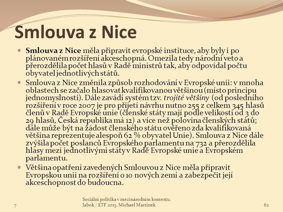 Smlouva z Nice Smlouva z Nice měla připravit evropské instituce, aby byly i po plánovaném rozšíření akceschopná. Omezila tedy národní veto a přerozděl