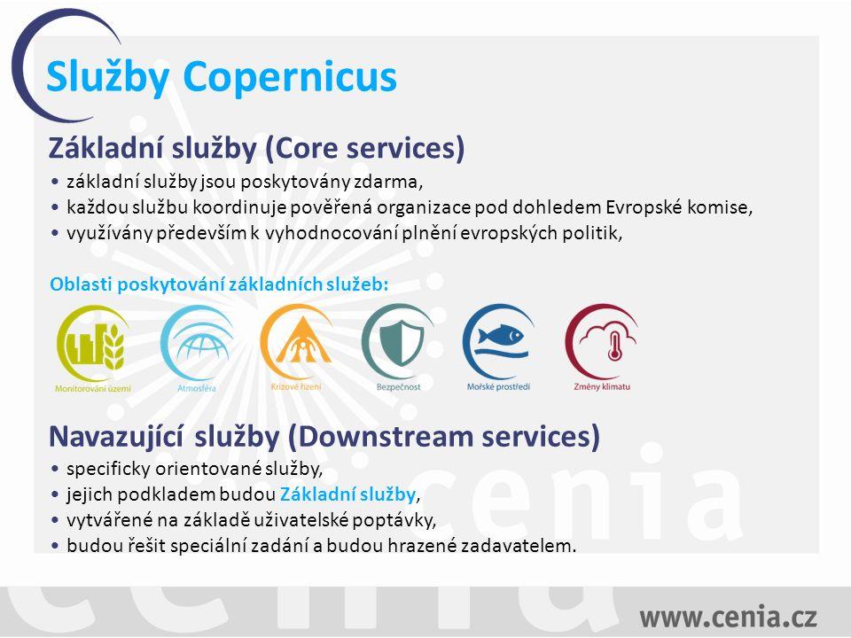 Služby Copernicus Základní služby (Core services) základní služby jsou poskytovány zdarma, každou službu koordinuje pověřená organizace pod dohledem Evropské komise, využívány především k vyhodnocování plnění evropských politik, Oblasti poskytování základních služeb: Navazující služby (Downstream services) specificky orientované služby, jejich podkladem budou Základní služby, vytvářené na základě uživatelské poptávky, budou řešit speciální zadání a budou hrazené zadavatelem.