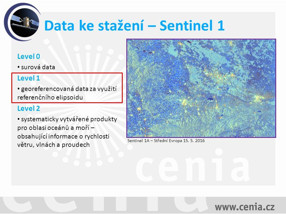 Data ke stažení – Sentinel 1 Sentinel 1A – Střední Evropa 15.