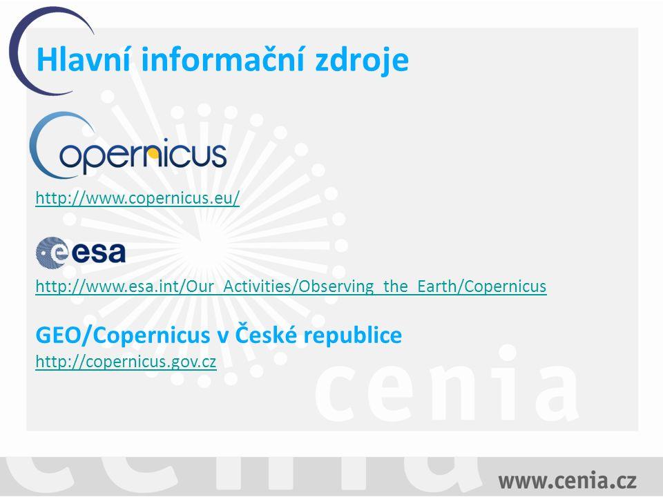Data dostupná v rámci programu Družicové snímky Služby Copernicus Sentinel 1Sentinel 2 Sentinel 3 Sentinel 4 Sentinel 5 Datová politika programu Copernicus zaručuje přímý a otevřený přístup k datům a informacím programu