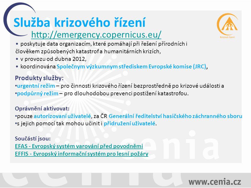 Služba krizového řízení Produkty služby: urgentní režim – pro činnosti krizového řízení bezprostředně po krizové události a podpůrný režim – pro dlouhodobou prevenci postižení katastrofou.