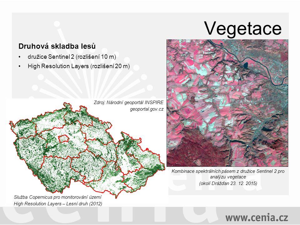 Vegetace Druhová skladba lesů družice Sentinel 2 (rozlišení 10 m) High Resolution Layers (rozlišení 20 m) Kombinace spektrálních pásem z družice Sentinel 2 pro analýzu vegetace (okolí Drážďan 23.