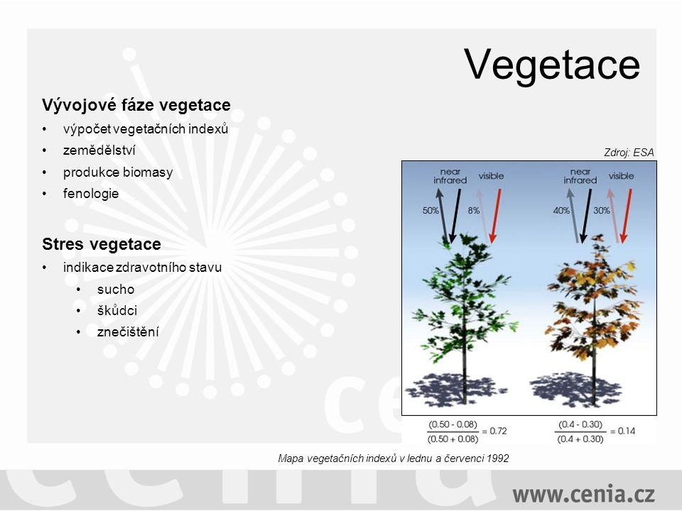Vegetace Vývojové fáze vegetace výpočet vegetačních indexů zemědělství produkce biomasy fenologie Stres vegetace indikace zdravotního stavu sucho škůdci znečištění Zdroj: ESA Mapa vegetačních indexů v lednu a červenci 1992