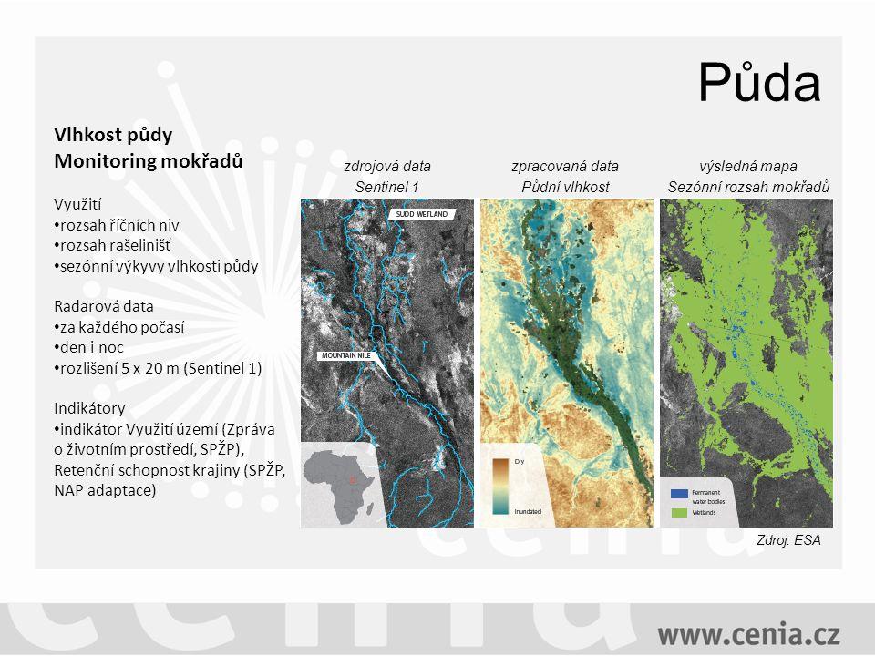 Půda zdrojová data Sentinel 1 zpracovaná data Půdní vlhkost výsledná mapa Sezónní rozsah mokřadů Vlhkost půdy Monitoring mokřadů Využití rozsah říčních niv rozsah rašelinišť sezónní výkyvy vlhkosti půdy Radarová data za každého počasí den i noc rozlišení 5 x 20 m (Sentinel 1) Indikátory indikátor Využití území (Zpráva o životním prostředí, SPŽP), Retenční schopnost krajiny (SPŽP, NAP adaptace) Zdroj: ESA