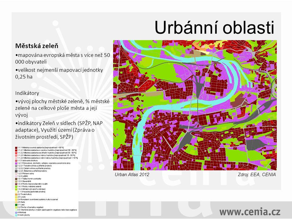 Urbánní oblasti Městská zeleň mapována evropská města s více než 50 000 obyvateli velikost nejmenší mapovací jednotky 0,25 ha Indikátory vývoj plochy městské zeleně, % městské zeleně na celkové ploše města a její vývoj indikátory Zeleň v sídlech (SPŽP, NAP adaptace), Využití území (Zpráva o životním prostředí, SPŽP) Zdroj: EEA, CENIAUrban Atlas 2012