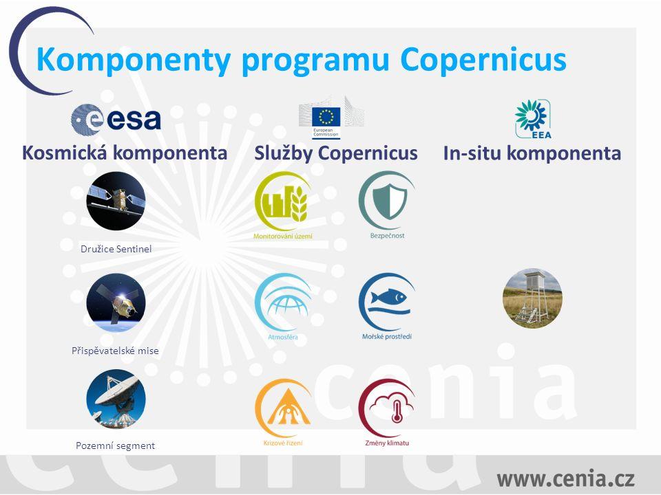 Kosmická komponenta Služby Copernicus In-situ komponenta Družice Sentinel Přispěvatelské mise Pozemní segment Komponenty programu Copernicus