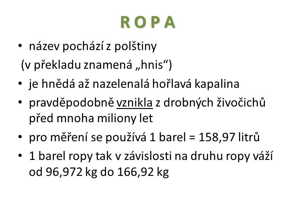 """R O P A název pochází z polštiny (v překladu znamená """"hnis ) je hnědá až nazelenalá hořlavá kapalina pravděpodobně vznikla z drobných živočichů před mnoha miliony let pro měření se používá 1 barel = 158,97 litrů 1 barel ropy tak v závislosti na druhu ropy váží od 96,972 kg do 166,92 kg"""