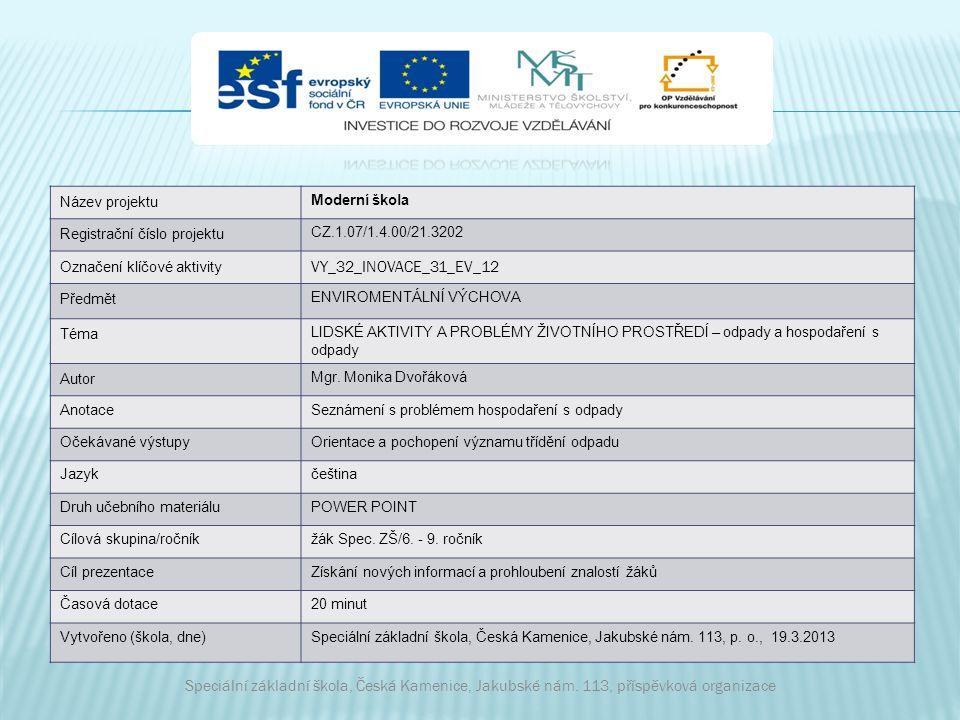 Název projektu Moderní škola Registrační číslo projektu CZ.1.07/1.4.00/21.3202 Označení klíčové aktivity VY_32_INOVACE_31_EV_12 Předmět ENVIROMENTÁLNÍ VÝCHOVA Téma LIDSKÉ AKTIVITY A PROBLÉMY ŽIVOTNÍHO PROSTŘEDÍ – odpady a hospodaření s odpady Autor Mgr.