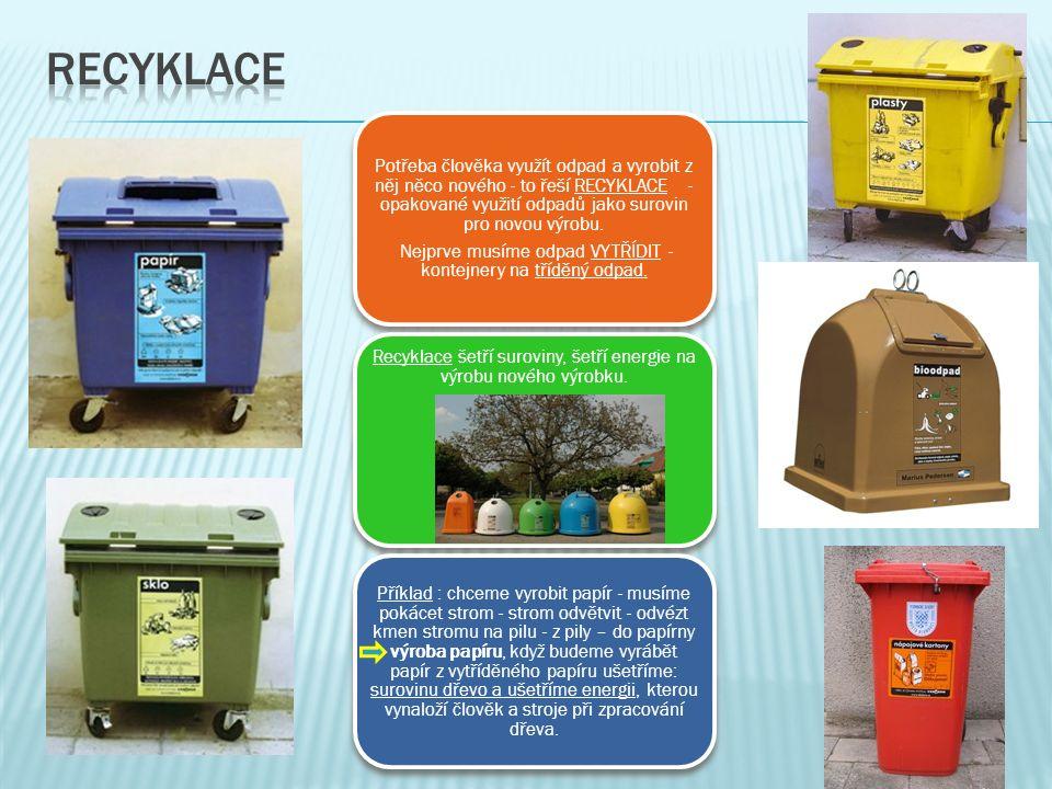 Potřeba člověka využít odpad a vyrobit z něj něco nového - to řeší RECYKLACE - opakované využití odpadů jako surovin pro novou výrobu.