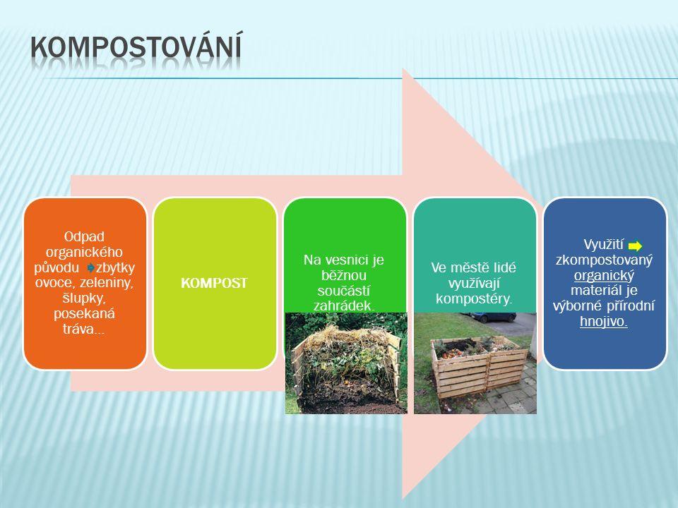Odpad organického původu zbytky ovoce, zeleniny, šlupky, posekaná tráva… KOMPOST Na vesnici je běžnou součástí zahrádek.