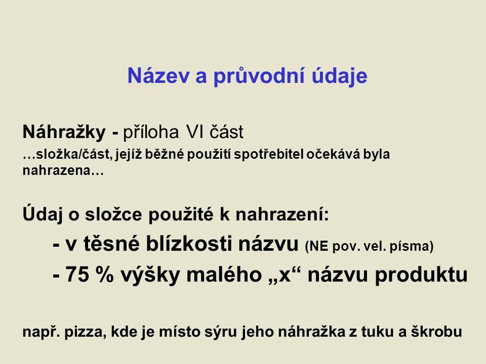 Název a průvodní údaje Náhražky - příloha VI část …složka/část, jejíž běžné použití spotřebitel očekává byla nahrazena… Údaj o složce použité k nahrazení: - v těsné blízkosti názvu (NE pov.