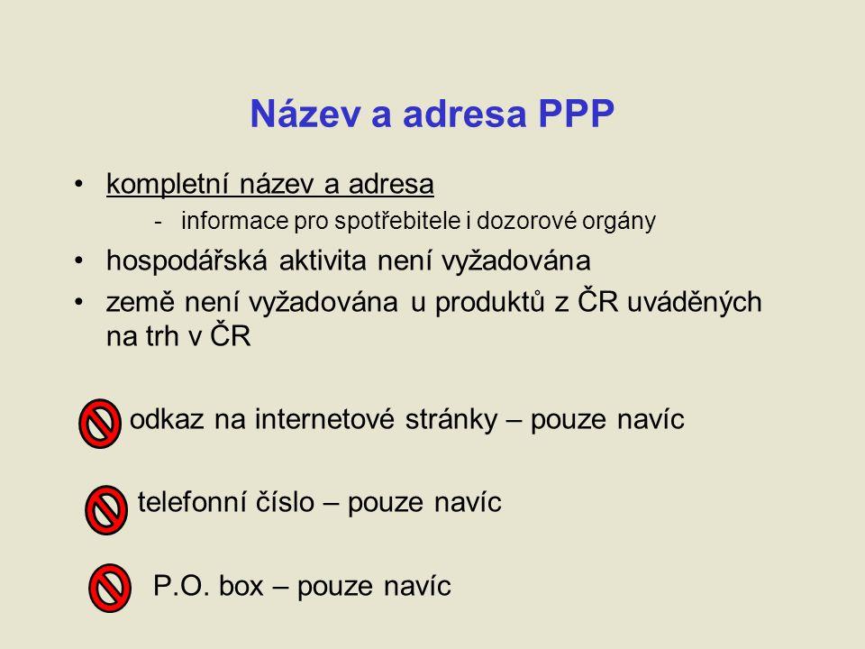 Název a adresa PPP kompletní název a adresa - informace pro spotřebitele i dozorové orgány hospodářská aktivita není vyžadována země není vyžadována u produktů z ČR uváděných na trh v ČR odkaz na internetové stránky – pouze navíc telefonní číslo – pouze navíc P.O.