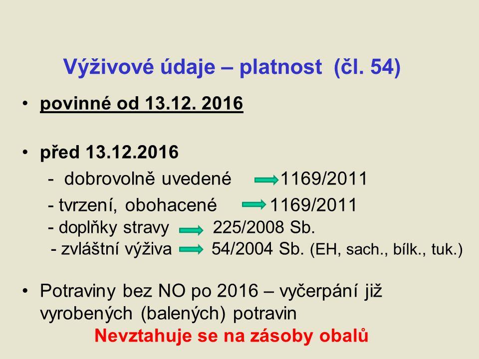 Výživové údaje – platnost (čl. 54) povinné od 13.12.