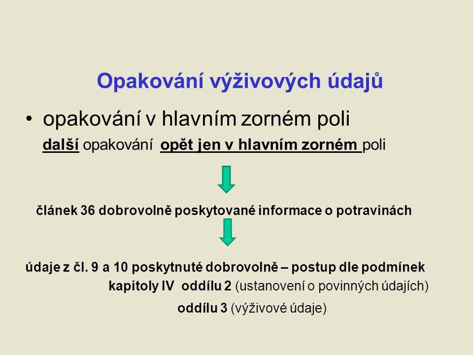 Opakování výživových údajů opakování v hlavním zorném poli další opakování opět jen v hlavním zorném poli článek 36 dobrovolně poskytované informace o potravinách údaje z čl.