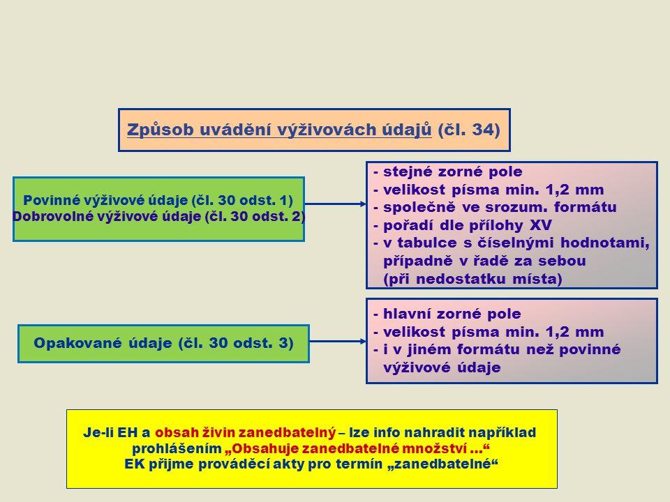 Způsob uvádění výživovách údajů (čl. 34) Opakované údaje (čl.